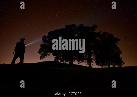 Germany  Bavaria  Allgaeu  Fuessen  man at night with torchlight under starry sky - Stock Photo