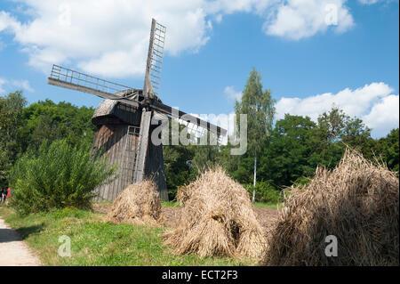 The windmill from Zygmuntów in skansen in Lublin, Lublin Voivodeship, Poland - Stock Photo