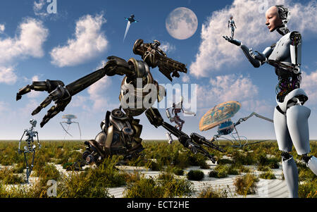 Robots Gathering. - Stock Photo