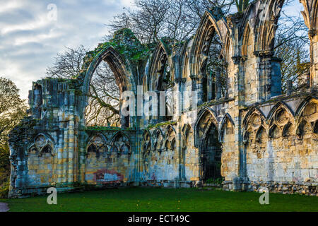 The ruins of St.Mary's Abbey in the Museum Gardens, York. - Stock Photo