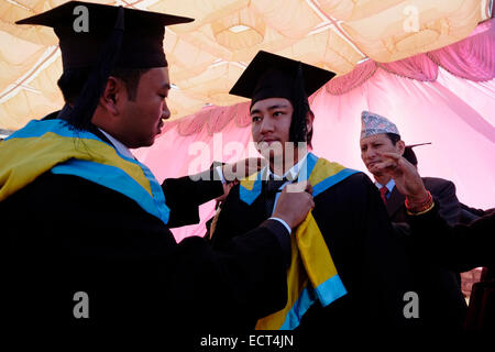 Students In Graduation Gown During Ceremony Stock Photo, Royalty ...