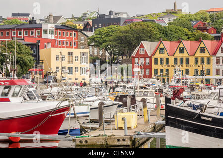 Crowded Harbour Torshavn Faroe Islands - Stock Photo