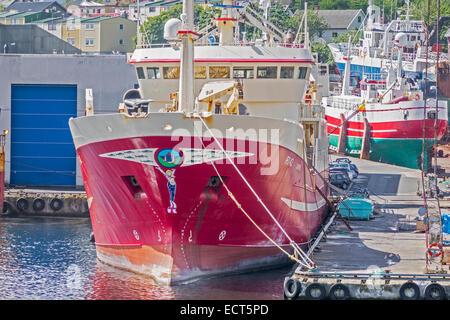 Fishing Boats Tied Up In Harbour Torshavn Faroe Islands - Stock Photo
