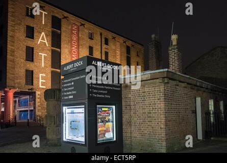 Tourist information display on Albert Dock, outside Tate Liverpool building, Liverpool, Merseyside, UK - Stock Photo