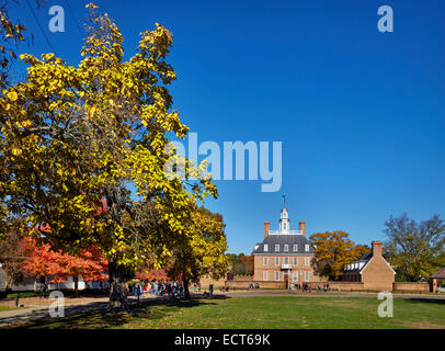 The Governor's Palace viewed from Palace Green. Colonial Williamsburg, Virginia, USA. - Stock Photo