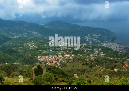 landscape near town Vietri Sul Mare, Campania, Italy - Stock Photo