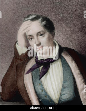 Yevgeny Baratynsky (1800-1844). Russian poet. Romanticism style. Portrait. Engraving. Colored. - Stock Photo