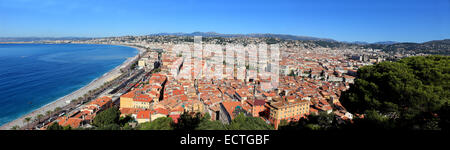 Panoramic view of the roof top of the old town of Nice with the coast and the Baie de Anges. - Stock Photo