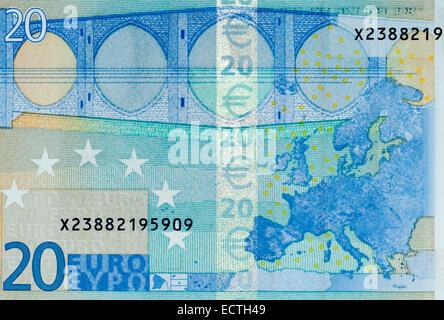 Euro 20 Twenty Bank Note - Stock Photo