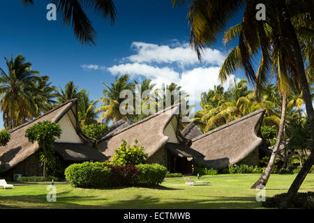 Mauritius, Flic en Flac, La Pirogue Hotel, thatched, boat shaped rooms in tropical garden