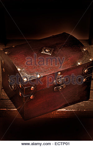 wooden chest for jewelry - Stock Photo
