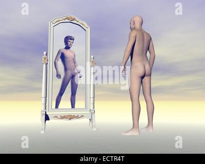 Man and bald scalp standing in front of a mirror looking at another with hair - Stock Photo