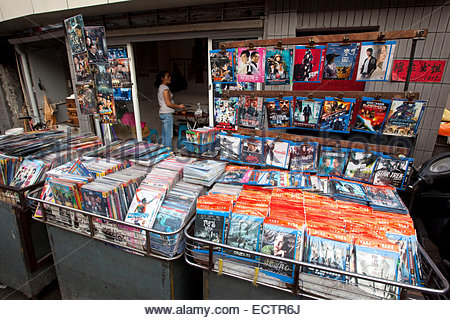Shanghai, DVD copies for sale on market. - Stock Photo