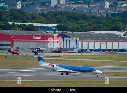 BMI Regional Embraer ERJ-135LR (EMB-135LR) SCO 9371 arriving at Aberdeen Dyce Airport Scotland.  SCO 9371. - Stock Photo