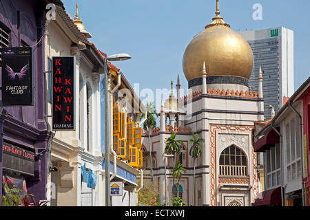 Masjid Sultan / Sultan Mosque at Muscat Street in Kampong Glam district of Rochor Planning Area in Singapore - Stock Photo