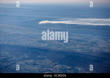 Aerial view of forest fire in Appalachian mountains at Fulks Run and Broadway Virginia USA - Stock Photo