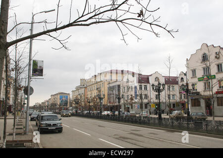 Putin Avenue, the former Victory Avenue, in the centre of the Chechen capital Grozny, Russia. It is the main street - Stock Photo