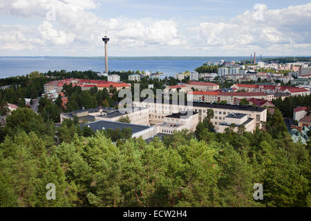 panoramic view from the observation tower, tampere, finland, europe - Stock Photo