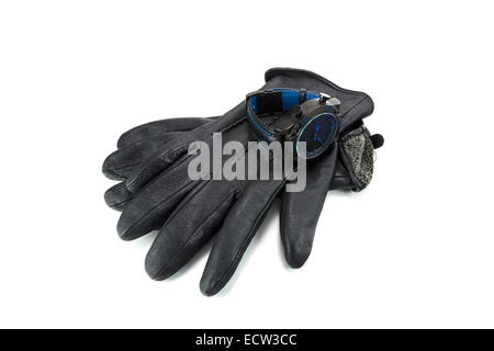 sports watches and leather gloves for men - Stock Photo