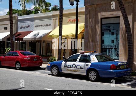 A Police Car at Worth Avenue, Palm Beach County, Florida, USA - Stock Photo