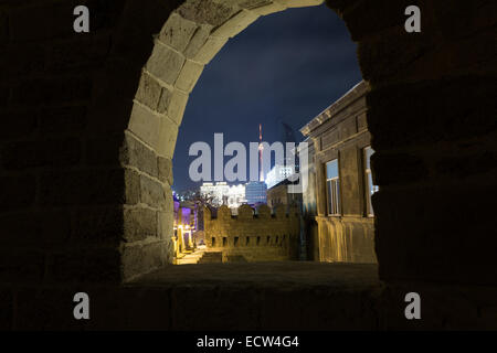 View from the old fortress in the city of Baku - Stock Photo