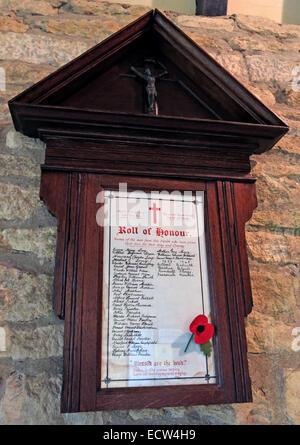 Holy Trinity Church Woodgreen Witney plaque of rememberance, West Oxfordshire, England, UK - Stock Photo