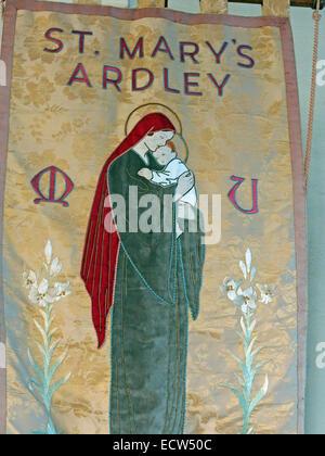 Fabric Banner from St Marys Church Ardley, Oxfordshire, England, United Kingdom - Stock Photo