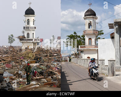 In this composite image a comparison has been made between a scene in 2005 (LEFT) and 2014 (RIGHT) ***LEFT IMAGE*** - Stock Photo