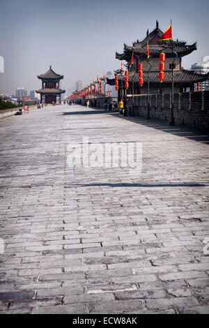 The city wall in Xi'an, Shaanxi, China - Stock Photo
