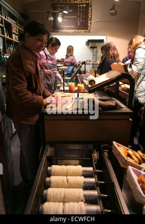 Trdelník pastry shop in Prague, Bohemia, Czech Republic, Czech Republic, Europe - Stock Photo
