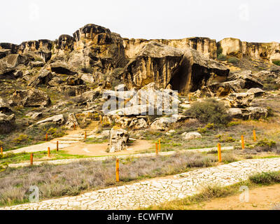 Qobustan national park is a national historical landmark of Azerbaijan in an attempt to preserve the ancient carvings, - Stock Photo