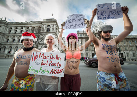 London, UK. 20th Dec, 2014.  Fuel Poverty Action protesters outside Downing Street Credit:  Guy Corbishley/Alamy - Stock Photo