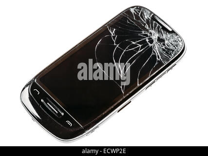 Black Mobile Smart Phone With Cracked Broken Screen Isolated Over White Background - Stock Photo