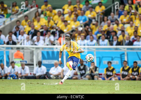 2014 FIFA World Cup - Brazil v Mexico - held at Castelao Stadium. The game ended in a 0-0 draw.  Featuring: Neymar - Stock Photo