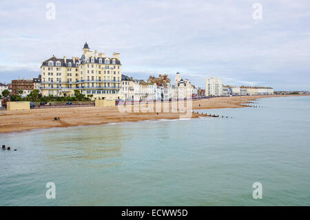 Eastbourne beach and seafront as seen from the pier, Eastbourne East Sussex England United Kingdom UK - Stock Photo