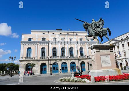 BURGOS, SPAIN - AUGUST 13, 2014: Famous Equestrian Statue of El Cid in Burgos, Castille, Spain. - Stock Photo