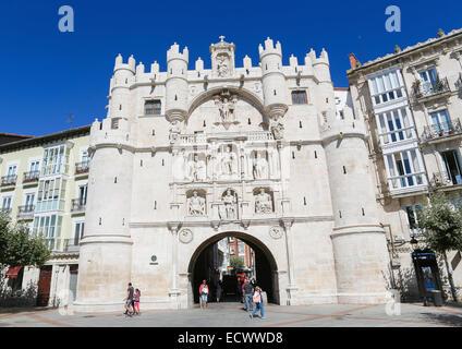 BURGOS, SPAIN - AUGUST 13, 2014: Historic City Gate in the center of Burgos, Castille, Spain. - Stock Photo