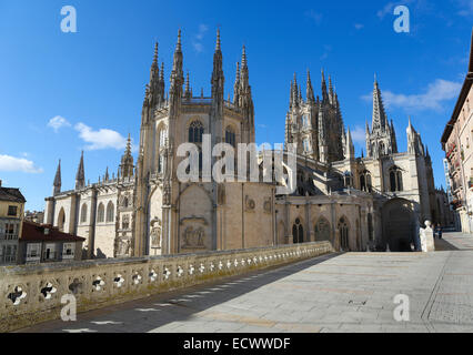 BURGOS, SPAIN - AUGUST 13, 2014: Famous gothic cathedral in Burgos, Castille, Spain. - Stock Photo