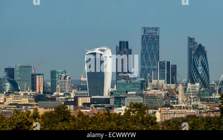 Views from the Horniman Museum Gardens of the financial district of London known as the City or Square Mile - Stock Photo