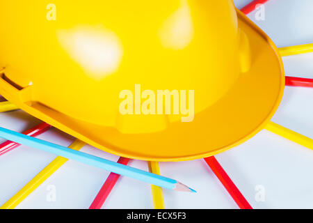 Drawing Pencil and Protective Helmet Nobody - Stock Photo
