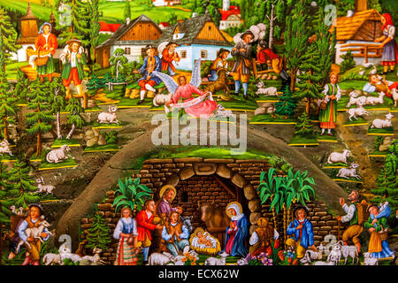 Traditional Czech Christmas Nativity scene. Scenes from the birth of Jesus. - Stock Photo