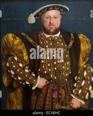 Rome. Italy. Portrait of King Henry VIII by Hans Holbein the Younger (1540), oil on panel. Galleria Nazionale d'Arte - Stock Photo
