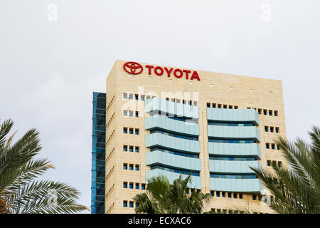 Tel-Aviv, Israel - December 20, 2014: The emblem Toyota on the office of official dealer. Toyota Motor Corporation - Stock Photo