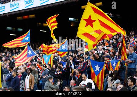 Barcelona, Spain.  20th Dec, 2014. Barcelona fans Football/Soccer : Spanish Primera Division 'Liga BBVA' match between - Stock Photo