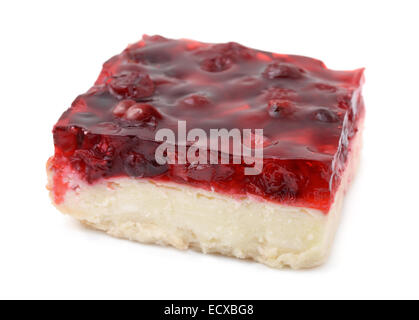 Piece of cherry cheesecake isolated on white - Stock Photo