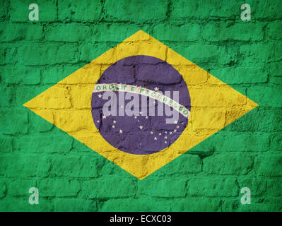 Brazil state flag painted on brick wall background - Stock Photo