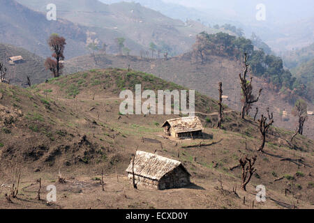Deforested hill side on the Indian side of the India-Burma border in Nagaland. The Burmese side still has forest - Stock Photo