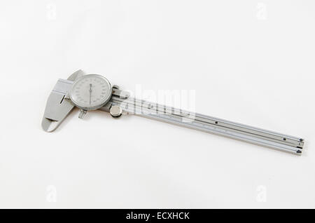 Vernier caliper precision tool isolated on white - Stock Photo