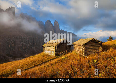 Abode of sheeps shepherd with mountains in the background - Stock Photo