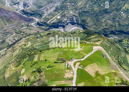 High Altitude Aerial Shot Over Farmland In Tungurahua Province Ecuador Pastaza River In The Background - Stock Photo